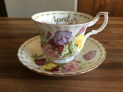 Royal Albert April cup and saucer - Flower of the month - Sweet Pea