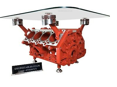 V8 Engine Block Coffee Table Natural Finish 40000