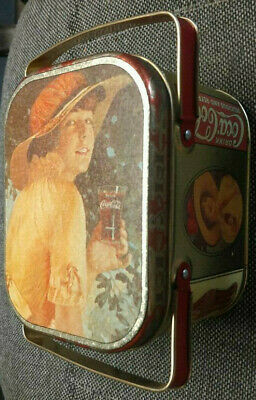 Vintage - Coco Cola Illustrated Lady Lunch Box Tin 1984