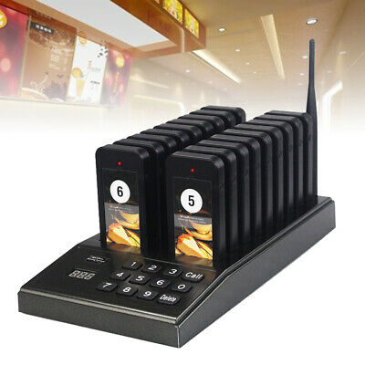 Restaurant Paging Calling System 999 channel Caller Pager + 18 Coaster Receivers