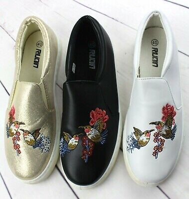 Ladies Womens Black Gold White Pumps Slip On Trainers Flat Casual Skater Shoes