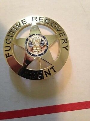 """Fugitive Recovery Agent Badge Only Gold 2.25"""" Round Dog Bounty Hunter Replica"""