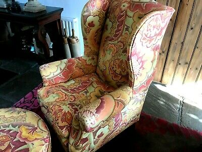 Fabulous vintage armchair & footstool re-upholstered in Designers Guild fabric
