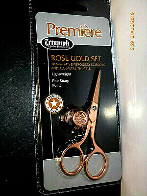 "Triumph Quality Needlework Embroidery 100 mm 4 "" Rose Gold Set Scissors Thimble"