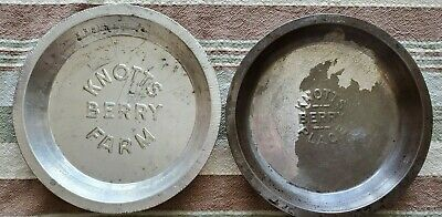 Vintage Lot of 2 1940 & 1950's Knotts Berry Place & Farm Embossed Pie Tins