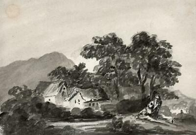 COTTAGE IN LANDSCAPE Small Antique Watercolour Painting c1835 - 19TH CENTURY