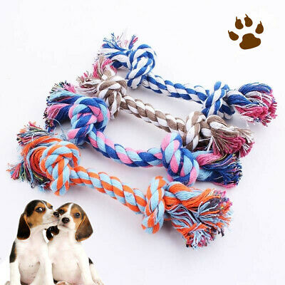 1pc Pet Dog Toy Double Knot Cotton Rope Braided Bone Shape Puppy Chew Toy
