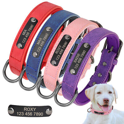 Soft Velvet Leather Personalized Dog Collar for Small Large Dogs Name ID Tags