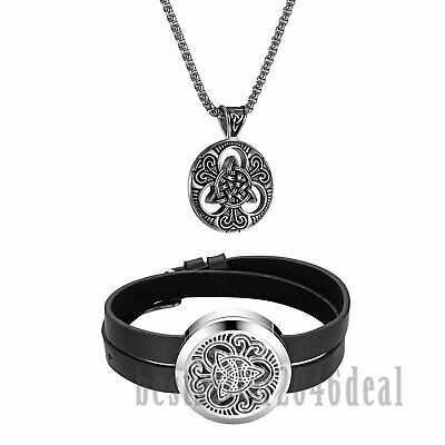 Classic Celtic Knot Stainless Steel Necklace Essential Oil Diffuser Bracelet 2pc