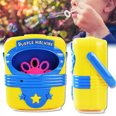 Kids Childrens Bubble Maker Machine Blower Solution Birthday Party