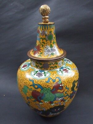 Antique 11''Old Chinese Cloisonne Lidded Jar  Colorful Foo Dogs  Flowers Design