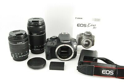 Excellent ++ Canon EOS Kiss Rebel X7  W Zoom Kit EFS 55-250mm & 18-55mm #0630