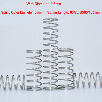 5pcs 0.5mm 304 Stainless Steel Compression Pressure Tension Springs 5mm O.D