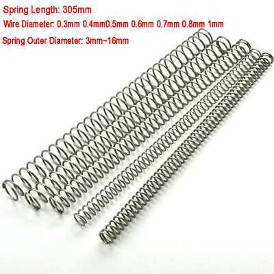 304 Stainless Steel Compression Pressure Spring 305mm Long 0.3-1mm Wire Diameter