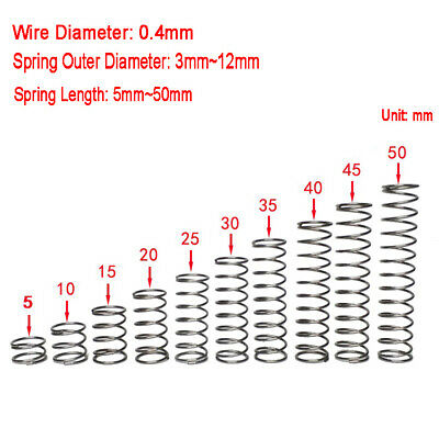 Stainless Steel Helical Compression Spring 0.4mm Wire Dia Various Size & Length