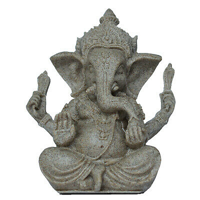 Resin Sandstone Ganesha Elephant God Figurine Yoga Meditation Decor Sculpture