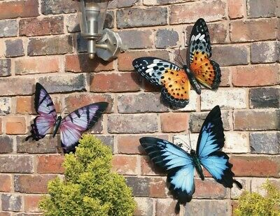 3 Large 35cm Metal Butterfly Garden Wall Art Orange Pink Blue