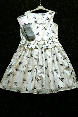 NEXT Girls Off White Space Print Dress  & Silver Tights Age 13 Yrs BNWT Tag £28