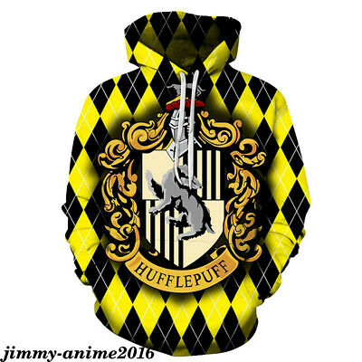 Harry Potter Hufflepuff Leisure Hoodie Print Sweater Pullover Men's Sweatshirt