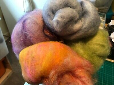 Hand dyed/blended, mixed Eng Leicester Longwool batts.200gm (2)
