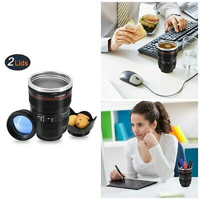 Coffee Mug With Transparent Lid Stainless Steel Camera Lens Cup Travel Tumbler