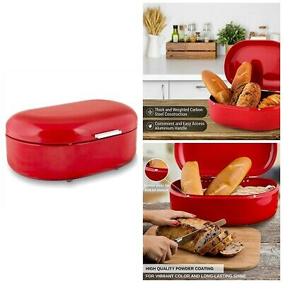 Metal Food Storage Bread Box Carbon Steel Containers Kitchen Countertop Bin New