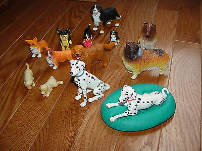 Set of 13 Mixed Breeds Vinyl Dog Figures + One Pillow Free US Shipping