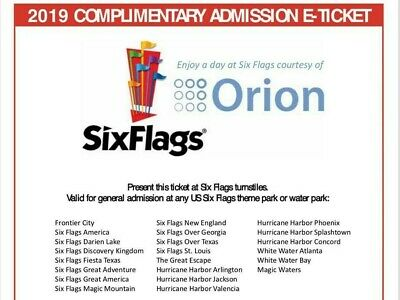 Six Flags Theme Park 1 Day Ticket- No blackout Date (print your Ticket At Home)