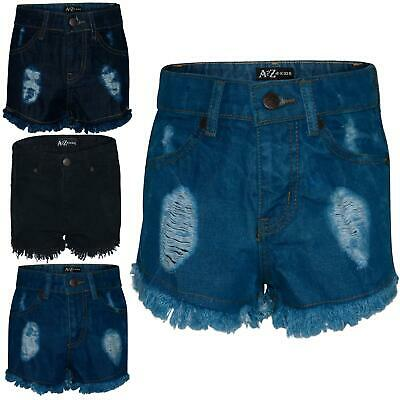 Kids Girls Shorts Bermuda Skinny Ripped Jeans Hot Pants Summer Denim Chino Short