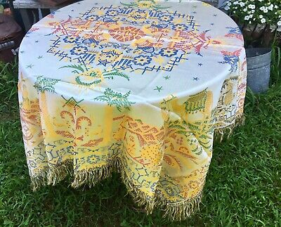 Vintage Silk Woven Square Tablecloth Middle East Damask fabric W/ Fringe.