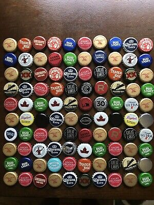 100 Mixed Bottlecaps Wide Variety Some Dents Arts & Crafts Projects Microbrew