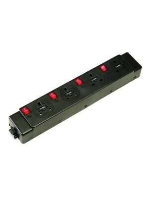 Konsort Under Desk Power Modules 4 Sockets 5 amp individual Switches