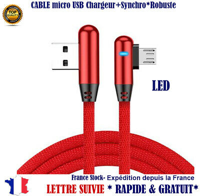 Cable Micro USB Chargeur Synchro 90 coude Samsung LG HTC Sony Asus Huawei Xiaomi