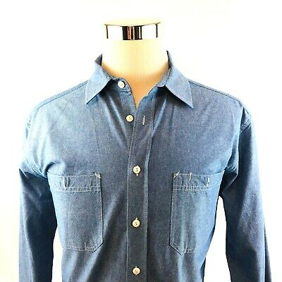 Taylor Stitch Cotton Chambray Denim Long Sleeve Button Front Shirt Mens 46 Large