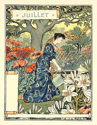 Postcard: Nouveau Print Repro Holly Grasset Fountain January Woman