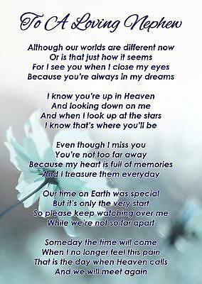 To A Loving Nephew Memorial Funeral Graveside Poem Card & Free Ground Stake F345