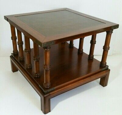 Vintage Walnut 2-Tier Leather Top Wooden End Table - Pillars/Columns