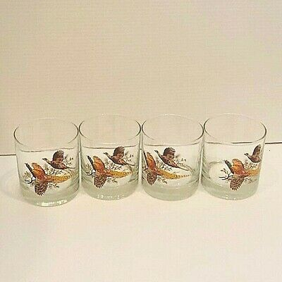 4 Vintage Pheasant heavy glass cocktail whiskey drinking glasses 3 1/2 inch