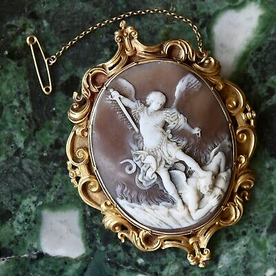 A Fine Antique 19th Century Carved Shell Cameo Brooch, Michael The Archangel.