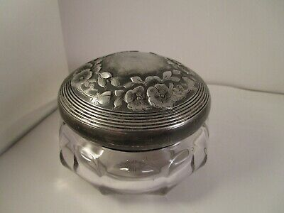 Vintage Metal & Clear Glass Flower Vanity Dresser Powder Jar Trinket Box 2728
