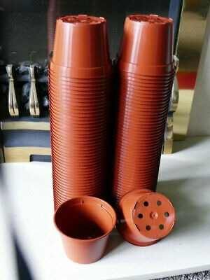 """PK 9CM 3.1//2/""""  LIGHTWEIGHT RED COLOURED PLANT POTS NEW 100"""