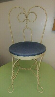 """Antique Ice Cream Chair Childs White Metal Blue Padded Seat Great 22"""" Tall"""