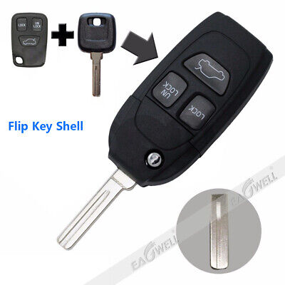 1pc Flip Key Shell 3 Button Remote Case Fob For Refit VOLVO S40 V40 S60 S80 XC70