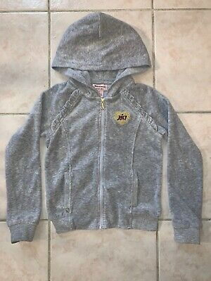 GORGEOUS ⭐️ Juicy Couture Hoodie Gray ZIP Up Small 6 Girls Designer Comfortable