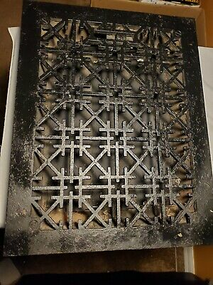 Ornate Vintage Cast Iron Floor Heat Grate With Louvers Tuttle and Bailey NY 1875
