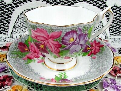 Queen Anne Nottingham Lace Pink Purple Orchid Tea Cup And Saucer