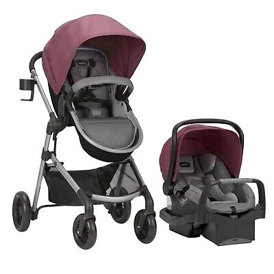 Baby Stroller Travel System with Car Seat Combo 3 in 1 Girls Reversible Foldable