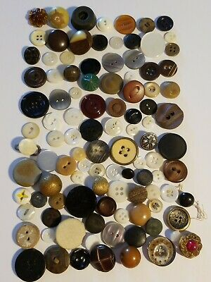 Mixed Lot 100 Vintage Antique Buttons Metal Wood Bakelite Plastic Leather Shells