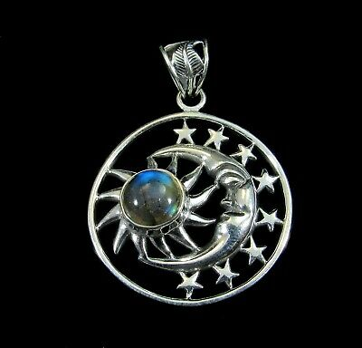Solid 925 Sterling Silver Crescent Moon Sun & Stars with Labradorite Pendant