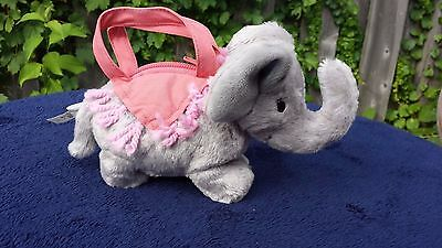 GYMBOREE ELEPHANT Plush PURSE Grey with Pink handles and Zipper - Trunk Up